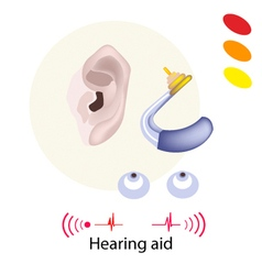 Patient with hearing aid on white background vector