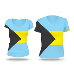 Flag shirt design of bahamas vector