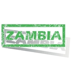 Green outlined zambia stamp vector