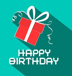 Happy birthday retro with gift box vector