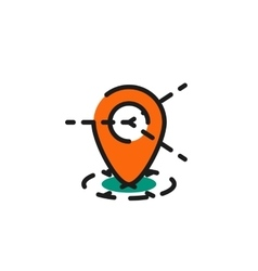 Color line icon for flat design map tag vector