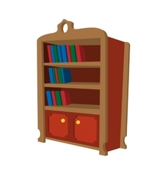 Wooden bookcase cartoon icon vector