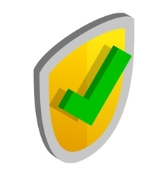 Yellow security shield with green tick icon vector