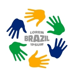 Colorful hand print icon using brazil flag colors vector