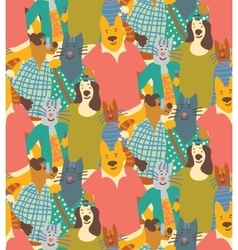 Hug pets dogs and cats friendship crowd seamless vector