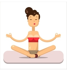 Yoga pose flat  woman sitting on the mat vector