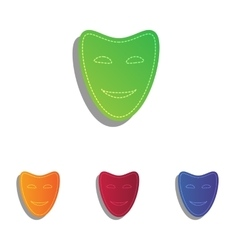 Comedy theatrical masks colorfull applique icons vector