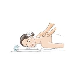 Back massage woman sketch for your design vector image
