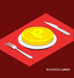 Business concept - coin with ruble sign on plate vector