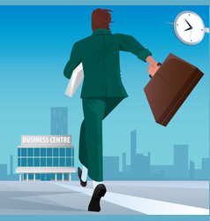 Businessman go to work in business center vector