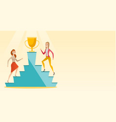 Businesswomen competing for the business award vector