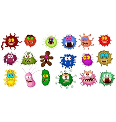 Cartoon bacteria collection set for you design vector image vector image