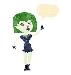 Cartoon pretty vampire girl with speech bubble vector