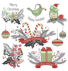 Christmas decoration set of gifts animals toys vector