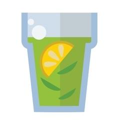 Cup of fresh hot green tea vector image vector image