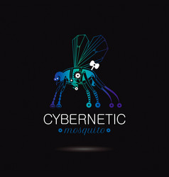 Cybernetic robot mosquito logo icon vector