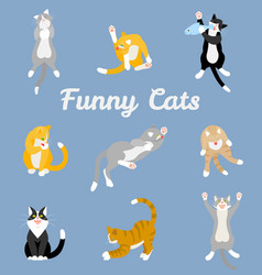 Different cartoon cats set vector