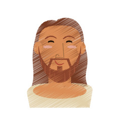 Drawing face jesus christ design vector