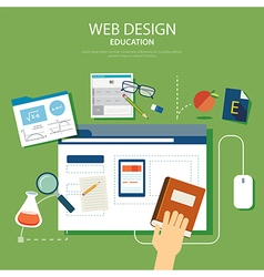 education website development project design conce vector image vector image