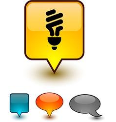 Fluorescent bulb speech comic icons vector