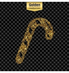 Gold glitter icon of stick candy isolated vector image vector image