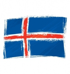 grunge Iceland flag vector image vector image
