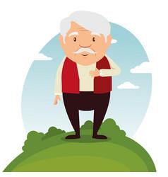 happy grandfather cartoon vector image