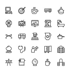 Hotel line icons 11 vector