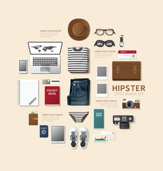 Infographic fashion design flat lay idea hipster vector