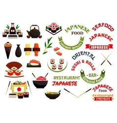 Japanese cuisine restaurant labels ribbons vector