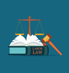 labor law books with a judges gavel in flat style vector image