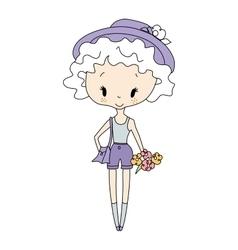 little girl doll vector image
