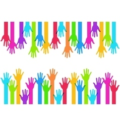 Modern colorful hands background vector