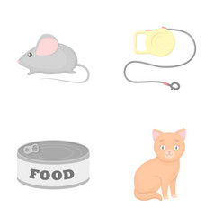 Mouse pet leash pet food kitten cat set vector