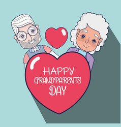 Old people couple with heart with message vector