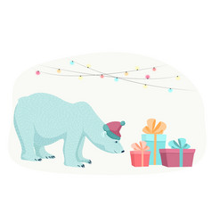 polar bear new year christmas gifts presents boxes vector image vector image
