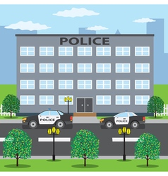 Police cars near police building vector
