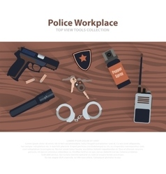 Police workspace icons policeman working cabinet vector