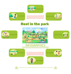 rest in park poster with activities infographics vector image