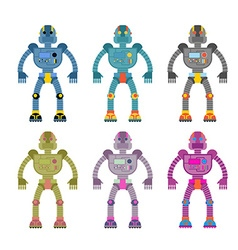 Set colored robots retro mechanical toys vintage vector