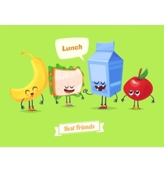 Set of lunch characters cute cartoons vector image vector image