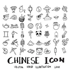 Set of object related to chinese doodle style vector