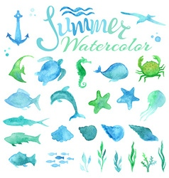 Set of watercolor marine life vector