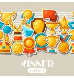 Sport or business award sticker icons seamless vector