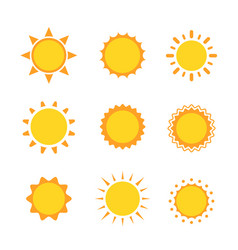 Sun icon sign set collection flat symbol vector