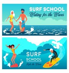 Surf school horizontal banners vector