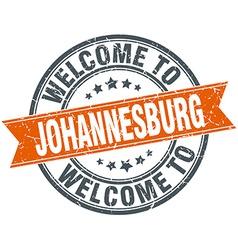 Welcome to johannesburg orange round ribbon stamp vector