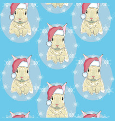 White rabbit sneaking christmas day on blue vector