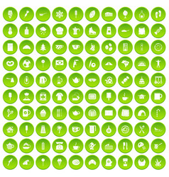 100 coffee icons set green circle vector