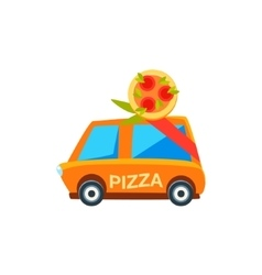 Pizza delivery toy cute car icon vector